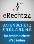 Erecht24 Siegel Datenschutzerklaerung Blau